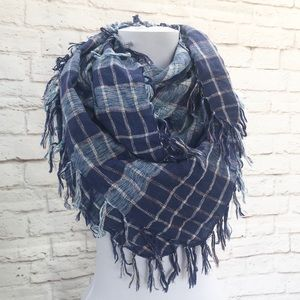 Accessories - Large Blue Plaid Fringed Square Metallic Scarf 36""